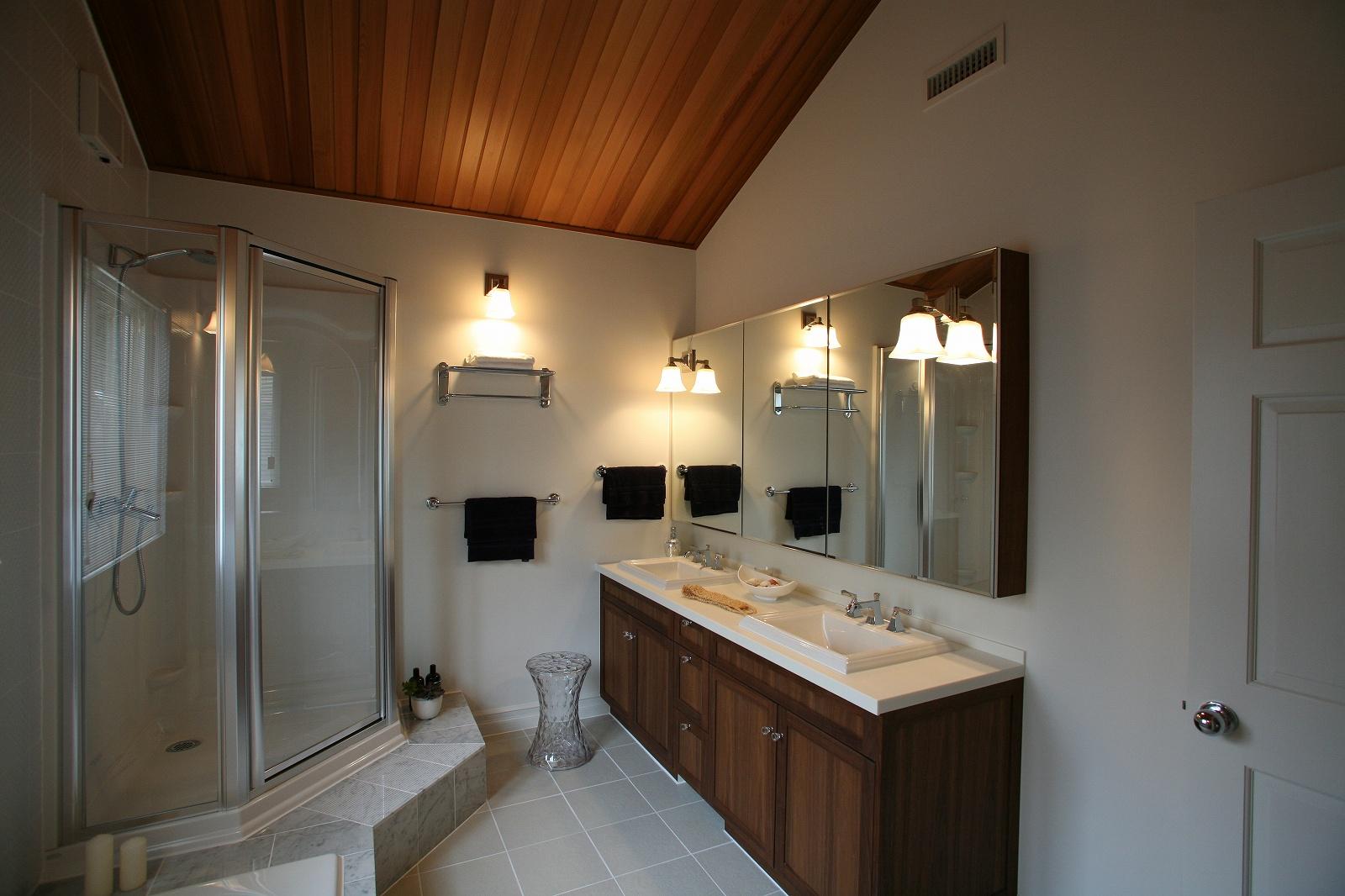 シャワーブースのある、プライベートバスルーム