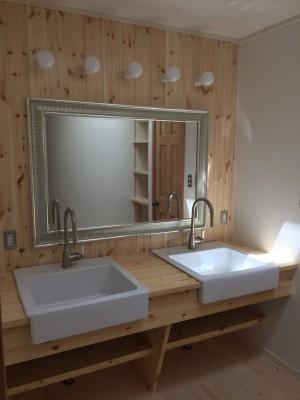 IKEAの鏡にIKEAのボウルにIKEAの水栓
